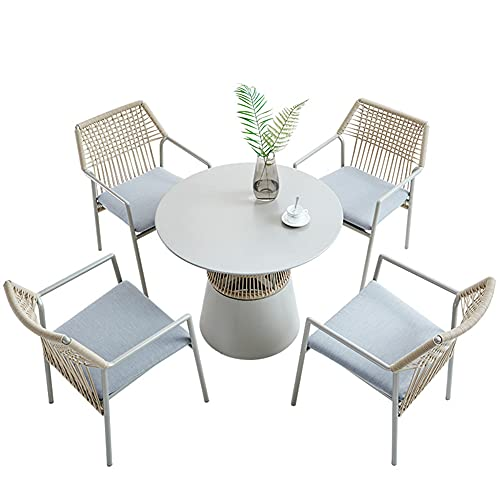 Outdoor Patio Furniture Sets, 5-Piece All-Weather Braided Rope Garden Conversation Chair Sets with Aluminum Table Home Backyard Patio Combination Chair