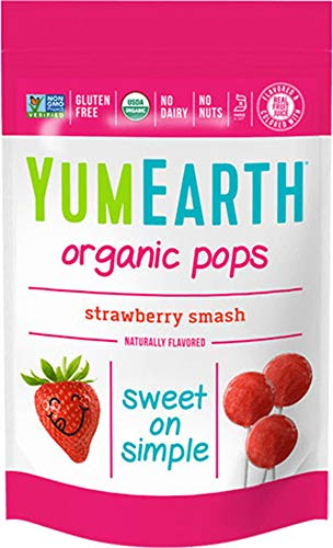 YumEarth Organic Strawberry Lollipops 3 Ounce Pack of 6 14 Lollipops per Pack