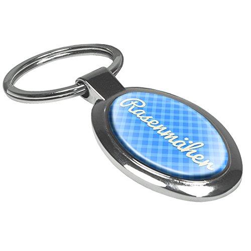 Schlüsselanhänger mit dem Aufdruck Rasenmäher - Motiv Karomuster - Schlüsselanhänger, Beschrifteter Anhänger, Talisman, Anhänger, Chrom, Schlüsselbund