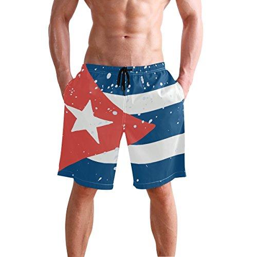 All3DPrint Cuba Flag Herren Badehose Water Beach Shorts mit Taschen Gr. S 7-9, multi