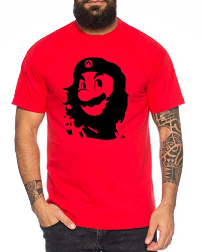 Che Mario Herren T-Shirt Gamer Play Sport Station Controller ps Game, Farbe:Rot;Größe:L