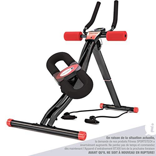 Sportstech Appareil d'entraînement pour gainage et abdominaux BT300, Muscles obliques Ceinture Abdominale Fitness Pliable Bandes de résistance...