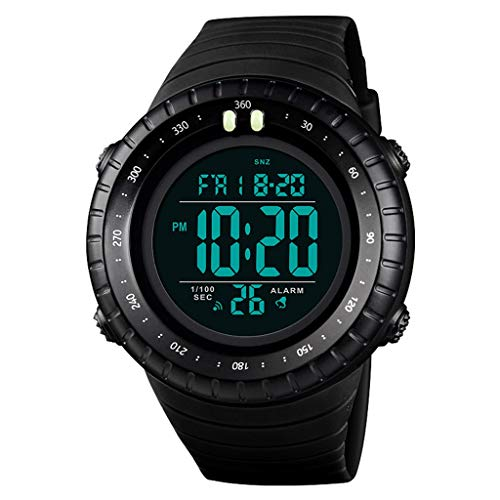 Reloj Deportivo Digital para Hombre, Relojes Impermeables para Correr al Aire Libre, Reloj de Pulsera de 5ATM, Reloj con Alarma para Hombres (Color : A)