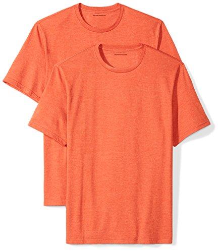Amazon Essentials 2-Pack Short-Sleeve Crewneck T-Shirt Camiseta, Naranja (Orange Heather), Large