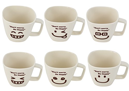Southern Homewares Don't Worry, Be Happy Man Ceramic Tea Cup Coffee Mug Smiley Face Set of 6