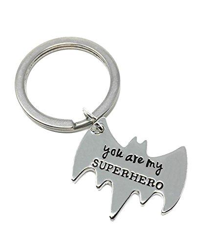 Silberton 'Du Sind Meine Superheld' Graviert Anhänger Schlüsselring 2.5 X. 2.0cm Batman Robin Gerechtigkeit Liga