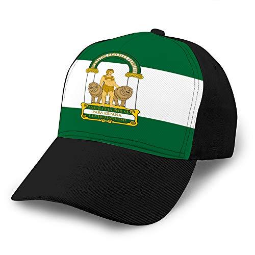 shdgfhdfghdf 1041 Gorras de béisbol para Hombres Gorra de sándwich Ajustable de Moda Bandera de andalucía en españa Sombrero de béisbol Deportivo