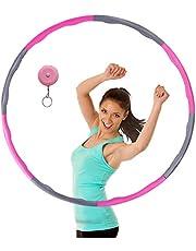 MELARQT Hoelahoep, voor fitness, hoelahoep, voor gewichtsvermindering en massage, afneembare 8 segmenten, hoelahoep voor volwassenen, beweging en gewichtsverlies, geschikt met mini-bandmaat