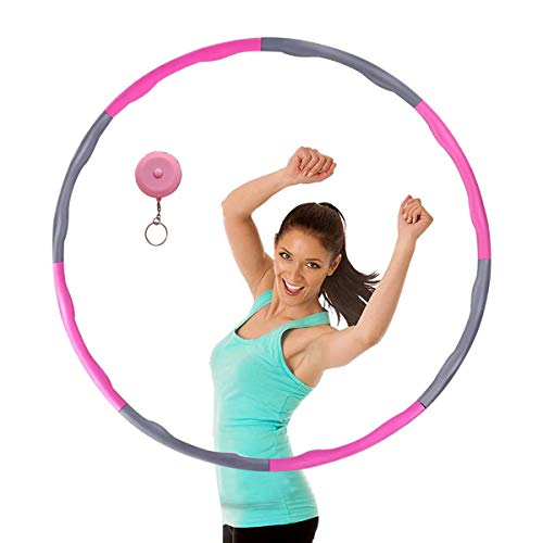 MELARQT Hula Hoop für Fitness,Hula Hoop zur Gewichtsreduktion und Massage, Abnehmbarer 8 Segmente Hoola Hoop für Erwachsene Bewegung und Gewichtsverlust geeignet mit Mini Bandmaß