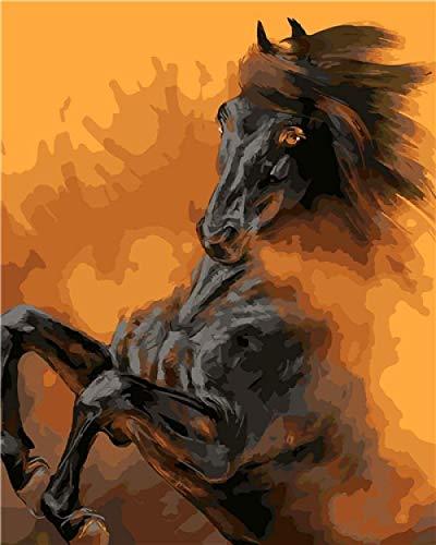 Kits de pintura por números, animal abstracto, caballo negro para adultos, principiantes y niños, estudiantes, lienzo, kit de pintura al óleo con juego de pinceles, pinturas acrílicas de 16 x 20