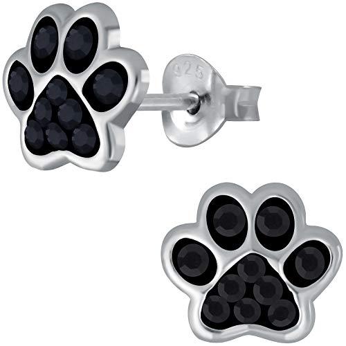 JAYARE Kinder Ohrringe Hunde Pfoten 925 Sterling Silber schwarz Glitzer Ohrstecker Hundepfote Kinderohrringe Mädchen Katzen Mädchenohrstecker