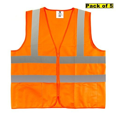 TR Industrial TR88050-5PK ANSI Compliant Safety Vests with Pockets and Zipper (Pack of 5), Medium, Orange by TR Industrial