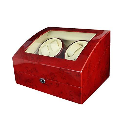 ZIXIXI Cajas giratorias Enrollador De Reloj Automático, 4+6 Caja De Almacenamiento De Madera For 10 Relojes - Rojo + Beige