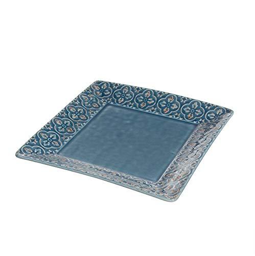 VaciaBolsillos Bandeja Llaves Recibidor Decorativa Ceramica Azul 20 cm