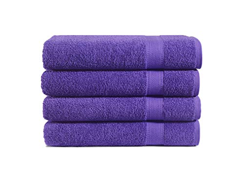 100% Cotton 4-Piece Bath Towel Set: Luxuriously Sized (30 X 54 Inch), Classic Amercian Construction, Soft, Highly Absorbent, Machine Washable (Lilac)