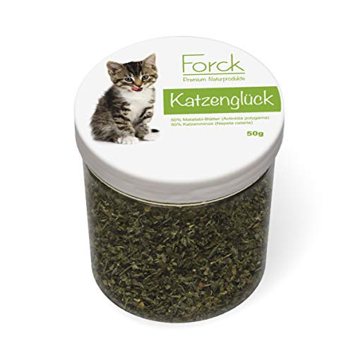 Forck Katzenglück, Premium Mischung aus Katzenminze und Matatabi-Blättern zum Spielen und Entspannen, natürliches Katzen-Spielzeug für alle Katzen geeignet