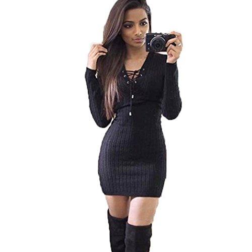 Amlaiworld Damen unregelmäßige Perspektive ärmel hoher Kragen figurbetontes Kleid, Neue Herbst&Winter warme Pullover Kleid (M, A,Schwarz)