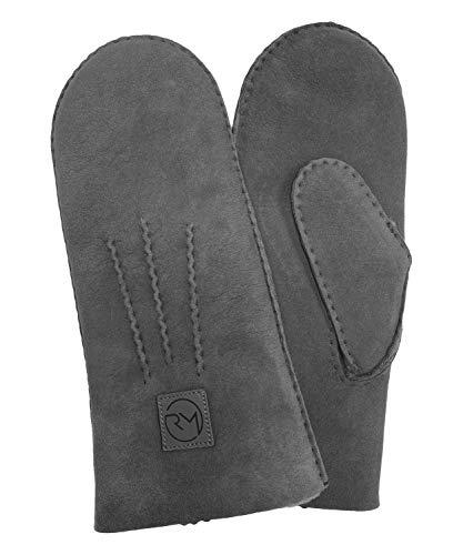 Rohn Moden Lammfell Handschuhe Arber echtes Merinolamm für Damen und Herren, Fäustlinge, Fausthandschuhe in Premiumqualität aus spanischem Merino grau Größe 9