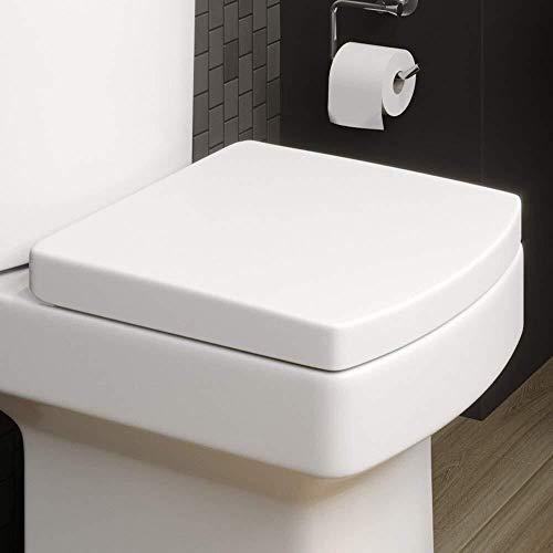 Hailiang toiletbril, modern wit vierkant toiletbril, zacht sluitend, stil chroom scharnieren, geschikt voor familiebadkamer, openbaar toilet