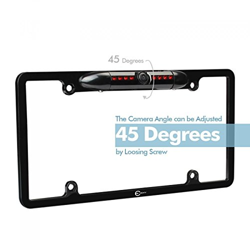 Esky License Plate Frame Rear View Backup Camera - Reverse Parking Assist Night Vision Waterproof Marine Grade Cam Distance Scale Line Display W/ 170 Degree Wide Viewing Angle and 7 Led for Low Light