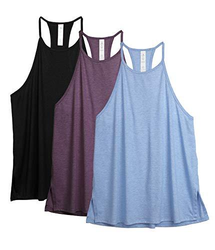 icyzone - Camiseta deportiva sin mangas para mujer (cuello alto, 3 unidades) Negro/uva/azul claro. M