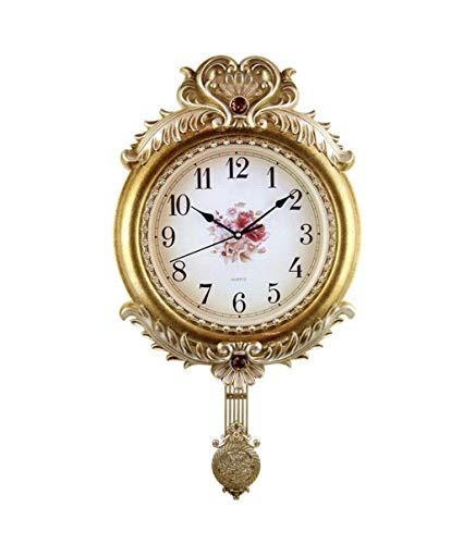 FENG-XIANG-HANG Schaukel Uhr Wanduhr Europäischen Pastoralen Wohnzimmer Wanduhr Stumm Kreative Mode Quarzuhr 66 * 36 cm (Color : Brass)