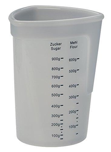 Lurch 70260 Messbecher aus 100% BPA-freiem Platin Silikon 1l, mit Skalen für Flüssigkeiten, Mehl und Zucker, Transparent