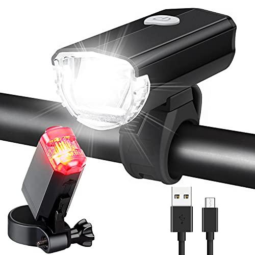 LED Fahrradlicht Set, AluminiumFahrradbeleuchtung STVZO Zugelassen Fahrradlampe USB Aufladbar und Wasserdicht Fahrrad Licht mit Vorne und Rücklicht. Sturdy & Duragable