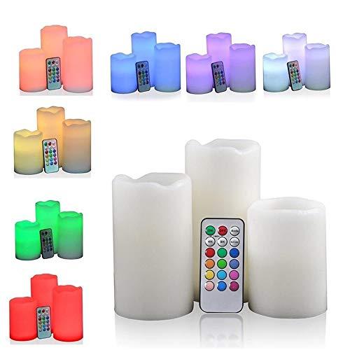 3 Candele A Led Effetto Fiamma Rgb Lumini Ppofumati Multicolore Con Telecomando
