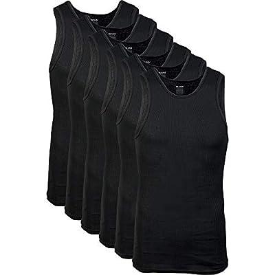Gildan Men's A-Shirts Tanks Multipack, Black (6 Pack), Medium