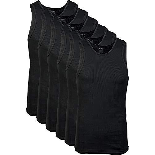 Gildan Men's A-Shirts Tanks Multipack, Black (6 Pack), XX-Large