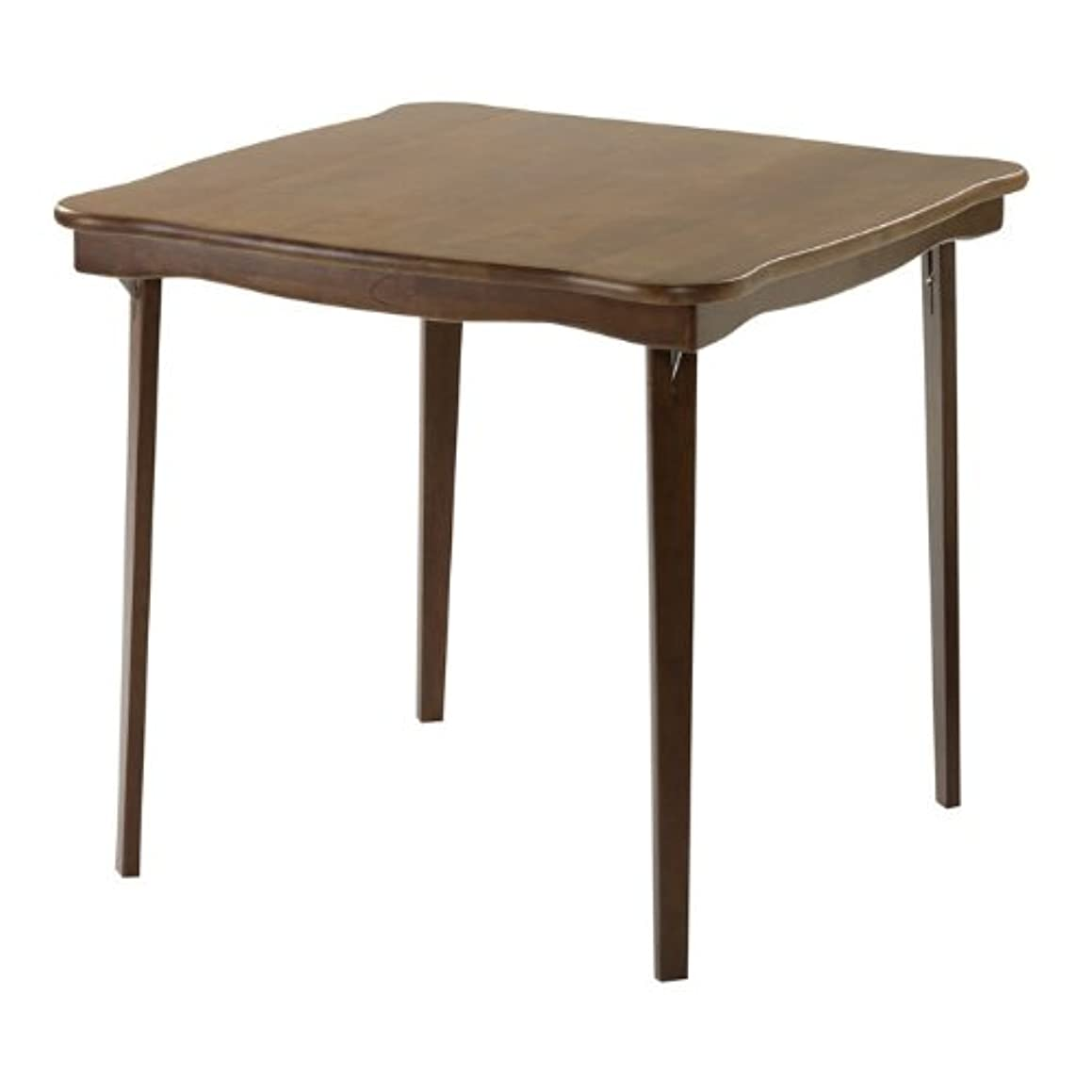 Scalloped Edge Wood Folding Card Table in Warm Fruitwood Finish