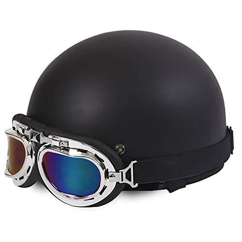 Brain-Cap · Vintage Motorrad Halbhelme Erwachsene Motorrad-Helm Halbschale Jet-Helm Roller-Helm Scooter-Helm Mofa-Helm Retro Motorrad Half Helm mit Brille ECE zertifizierter N,54~59cm