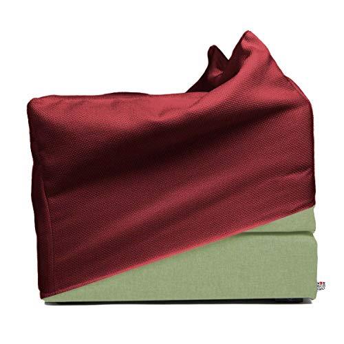 Arketicom TOUF | Pouf Letto Singolo Pieghevole 70x63x42 Verde + Fodera Copri Pouf Rosso