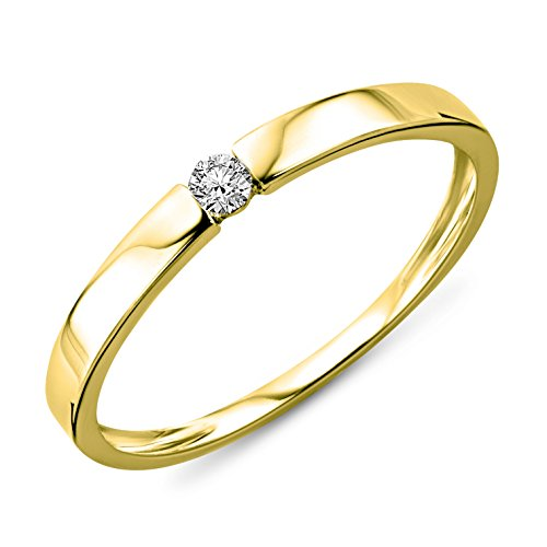 Miore Anillo solitario de compromiso en oro amarillo 9 quilates 375/1000 con diamante natural talla brillante de 0,05 quilates