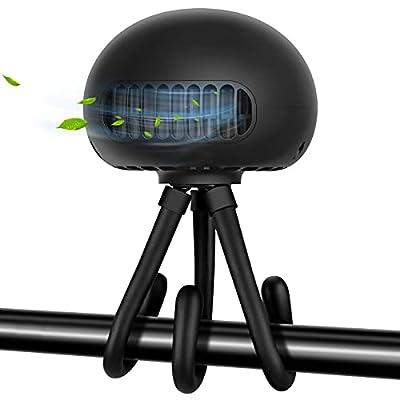 YND Stroller Fan Rechargeable Bladeless Portable Fan Mini Handheld Fan with Flexible Tripod, Battery Operated Fan Jellyfish Shape Design 3 Speeds USB Personal Fan for Car Seat Treadmill (Black)