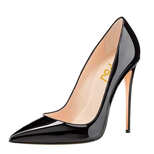 Sapato feminino FSJ formal bico fino salto alto stilettos sexy sem cadarço tamanho 4-15 EUA, Preto, 7