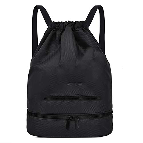 Radiancy Inc Waterproof Gym Drawstring Bag Folderable Dry-wet Separation Swim Bag Backpack With Shoes Compartment For Men Women