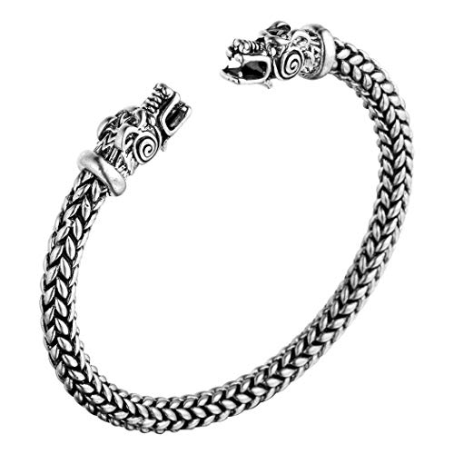 Wikinger Drachenkopf Armreif, AILUOR Einzigartiges Design Drachen Herren Armband Edelstahl Verdrehten Stahlkabel Armreif Keltischer Knoten Manschette - Elastische Verstellbare (Silber)