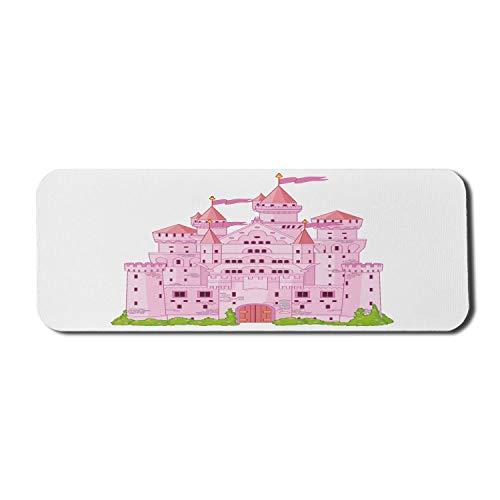 N\A Castillo Alfombrilla de ratón para Ordenador, Cuento de Hadas Princess Place Dreamy Fantasy World, Rectangular Alfombrilla de ratón de Goma Antideslizante Grande Blanco Rosa Verde Lima