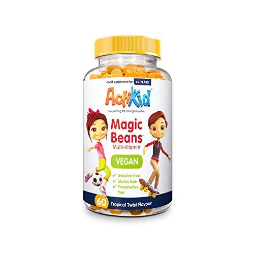 ActiKid Magic Beans Vegan Multi-Vitamin 60x Tropical Twist Flavour | Gelatine Free | Children's Vitamin | Immune System Booster