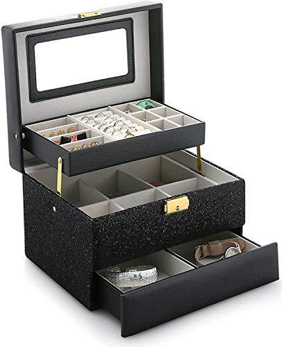 Caja de joyería de Viaje, Estuche de Almacenamiento del Titular del Organizador de Cuero con el Espejo para el Collar del Reloj de la Pulsera de Anillo JUBC (Color : Negro)
