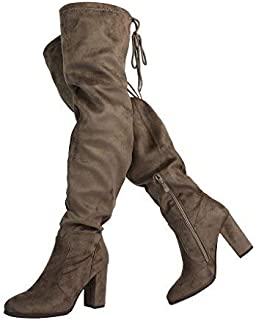 2be35c8e1 DREAM PAIRS Women's Thigh High Fashion Over The Knee Block Heel Boots