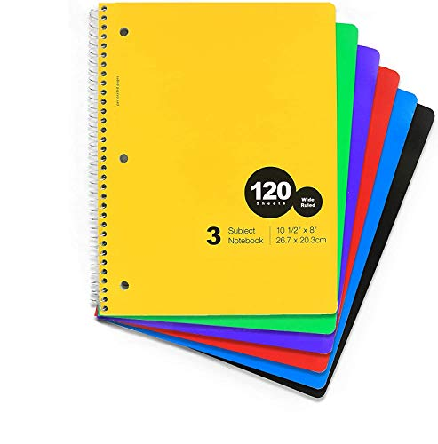 Emraw 3 Subject Spiral Notebook 120 Sheets Wide Ruled Wire Binding Meeting Notebook Durable Laminated Cover Assorted Color Wire Bound Small Notebook 3 Hole (6-Pack)