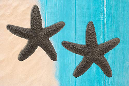 Ebros Cast Iron Ocean Coral Sea Star Shell Starfish Decorative Accent Statue in Rustic Bronze Finish 4.5' Wide Nautical Coastal Themed Decor for Wedding Beach Party Home Decorations DIY Crafts (2)