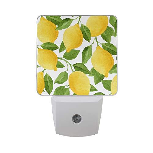 ALAZA 2 Pack Lemon Fruit Leaves Watercolor LED Night Light Dusk to Dawn Sensor Plug in Night Home Decor Desk Lamp for Adult