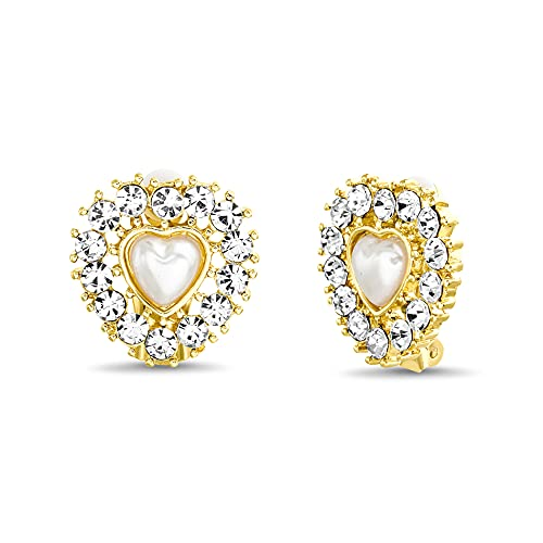 Badgley Mischka Clip de perlas de imitacin en forma de corazn amarillo en pendientes de tuerca para mujeres