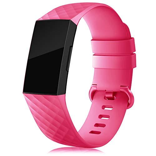 RIOROO - Correa compatible para Fitbit Charge 3 Correa/Charge 4 Correa/SE, deportiva, correas de silicona para mujer, hombre, ajustable, de repuesto, rosa rojo, S