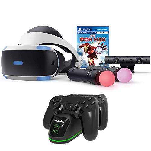 Newest Sony Playstation PS VR for PS4 PS5 - Marvel's Iron Man Family Christmas Holiday Gaming Bundle + NexiGo PS4 Controller Charging Station Bundle