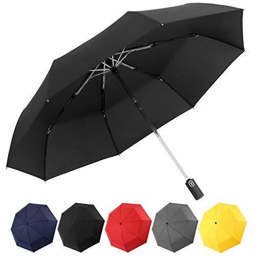Paraguas de viaje compacto Paraguas plegable automático a prueba de viento (negro)